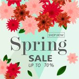 Spring sale banner paper flower on colorful background. Spring sale banner template with paper flower on colorful background. Vector illustration Stock Image