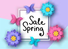 Spring   sale banner with paper   flowers  and  butterflies. Spring  season  sale banner with paper cut  flowers  and butterflies. Trendy floral colorful Royalty Free Stock Images
