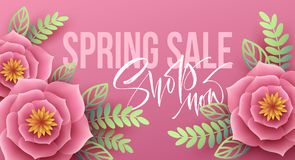Spring sale banner with paper flowers and calligraphy lettering. Vector illustration Royalty Free Stock Image