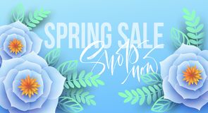 Spring sale banner with paper flowers and calligraphy lettering. Vector illustration. EPS10 stock illustration