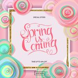 Spring sale banner. With paper flowers and gold frame. Best Price. Up to 50 off. Vector illustration Stock Photos