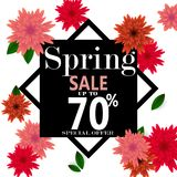 Spring sale banner with paper flowers for online shopping, advertising actions, magazines and websites. Vector illustration Stock Photo