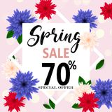 Spring sale banner with paper flowers for online shopping, advertising actions, magazines and websites. Vector illustration Royalty Free Stock Images