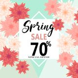 Spring sale banner with paper flowers for online shopping, advertising actions, magazines and websites. Vector illustration Royalty Free Stock Photos