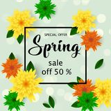 Spring sale banner with paper flowers for online shopping, advertising actions, magazines and websites. Vector illustration Royalty Free Stock Photography