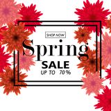 Spring sale banner with paper flowers for online shopping, advertising actions, magazines and websites. Vector illustration Stock Image