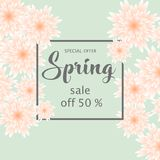 Spring sale banner with paper flowers for online shopping, advertising actions, magazines and websites. Vector illustration Stock Images