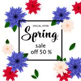 Spring sale banner with paper flowers for online shopping, advertising actions, magazines and websites. Vector illustration Royalty Free Stock Photo