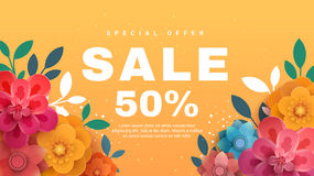 Spring sale banner with paper flowers on a yellow background. stock illustration