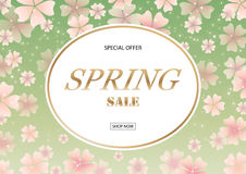 Spring sale banner with pink cherry blossom flowers on green background. Season sale vector poster Royalty Free Stock Photos