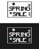 Spring Sale banner in pixel style square with cyan and red underneath Royalty Free Stock Images