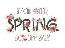 Spring Sale Banner, Sale Poster, Sale Flyer, Sale Vector. 50% Off.  Royalty Free Stock Photos