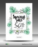 Spring Sale Banner or Poster layout template, jungle leaf. Floral tropical summer background, flyers, invitation, brochure, voucher discount, Vector stock illustration