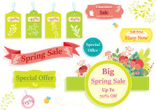 Spring sale banner and price tags. With colored plants and flowers Stock Image