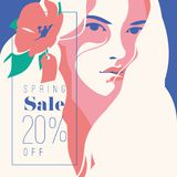 Spring Sale Banner, Sale Poster, Sale Flyer. 20 Off, Vector illustration. Spring Sale banner or flyer 20 Off. Fashion portrait of a beautiful girl with flowers Royalty Free Stock Photography
