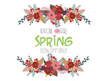 Spring Sale Banner, Sale Poster, Sale Flyer, Sale Vector. 50% Off.  Royalty Free Stock Images