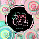 Spring sale banner. With paper flowers and gold frame. Best Price. Up to 50 off. Vector illustration Stock Images