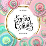 Spring sale banner. With paper flowers and gold frame. Best Price. Up to 50 off. Vector illustration Stock Image