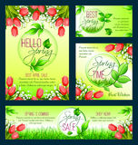 Spring sale banner template with blooming flower. Spring sale banner template set. Discount price and special offer floral poster with spring flower meadow of Royalty Free Stock Photos