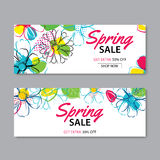 Spring sale banner template with colorful flower background.Can. Be use voucher, wallpaper,flyers, invitation, posters, brochure, coupon discount Stock Photo