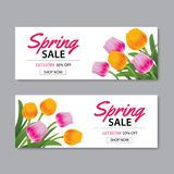 Spring sale banner template with colorful flower.Can be use vouc Stock Photography