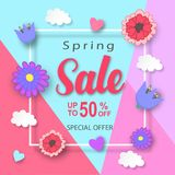 Spring sale banner template design. Spring sale banner with paper flowers and white frame. Best Price. Up to fifty percent off. Vector illustration Stock Photo