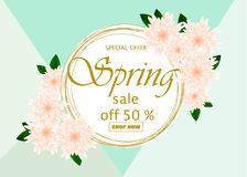 Spring sale banner template with paper flower. On colorful background. Vector illustration Stock Photo