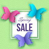 Spring sale  banner template with  papercut butterflies on green. Spring sale  banner template with colorful papercut butterflies on green background. Vector Royalty Free Stock Photography