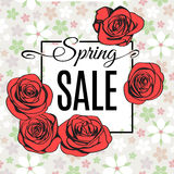 Spring Sale banner template with red outline roses. Vector. Spring Sale banner template with black frame on light tender flower background and with red outline Stock Image