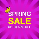 Spring sale banner. Vector illustration. Royalty Free Stock Images