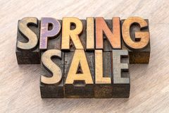 Spring sale banner in wood type Stock Images