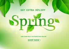 Spring sale banner. Spring word on natural green background.Spring sale.Vector illustration EPS10 Royalty Free Stock Images