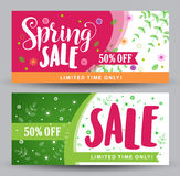 Spring sale banners with different colorful designs Royalty Free Stock Photos