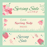 Spring sale banners with hand drawn floral ornament. Spring sale banners with hand drawn flowers and plants Royalty Free Stock Photography