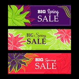 Spring sale banners with nature lace flowers Royalty Free Stock Photo