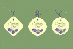 Spring sale banners poster tag design, voucher template. Big set. Floral frame for text, isolated on white background Stock Images