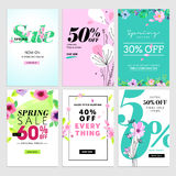Spring sale banners. Vector illustrations of online shopping website and mobile website banners, posters, newsletter designs, ads, coupons, social media Stock Photography