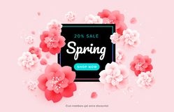 Spring sale beautiful banner design with pink flowers background vector illustration