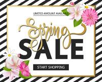Spring sale with beautiful flowers. Greeting card with hand drawn lettering. Vector illustration template, banners Stock Image