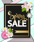 Spring sale with beautiful flowers. Greeting card with hand drawn lettering. Vector illustration template, banners Royalty Free Stock Photo
