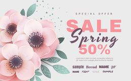 Spring sale with beautiful flowers. Vector illustration template. stock images