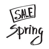Spring sale black lettering isolated on white background Stock Images