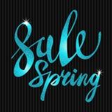 Spring Sale. blue inscription paint. glitz, glamor, light, shine, discounts Stock Images