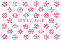 Spring sale card with flower icons. Stock Photography