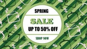 Spring sale card. Green background. vector illustration