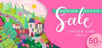 Free Spring Sale Card With Springtime Landscape. Royalty Free Stock Photography - 207674707