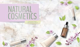 Spring sale cherry blossom organic cosmetic ad template. Skincare essence pink spring promo offer flower 3D realistic. Mockup. Sakura marble background flat lay stock illustration