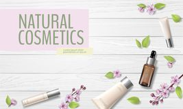 Spring sale cherry blossom organic cosmetic ad template. Skincare essence pink spring promo offer flower 3D realistic. Mockup. Sakura wooden plank background royalty free illustration