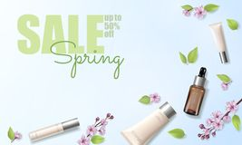 Spring sale cherry blossom organic cosmetic ad template. Skincare essence pink spring promo offer flower 3D realistic. Mockup. Sakura green tea background flat royalty free illustration
