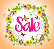 Spring Sale in a Circle Wreath of Colorful Flowers, Vines and Leaves Stock Images